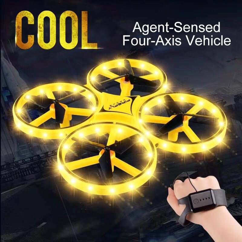 ZF04 Радиоуправляемый мини Квадрокоптер индукционный Дрон умные часы с дистанционным зондированием жесты самолета НЛО ручной контроль бесп...