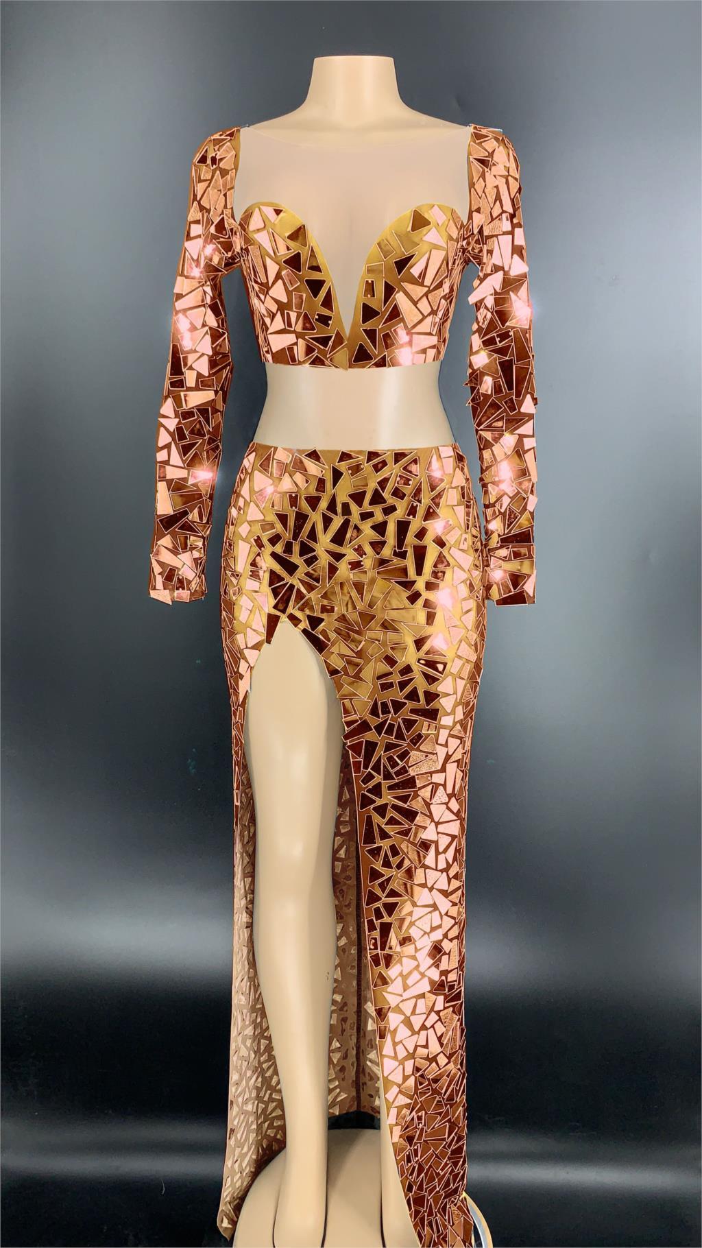 تي شيرت شفاف مع مرآة فضية للنساء ، تنورة طويلة ، فستان حفلات أعياد الميلاد ، ملابس رقص ، عدسات لامعة ، مجموعة جديدة 2020
