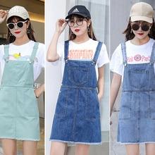 Spring Fashion Ripped Women Denim Suspender Dress A Line Preppy Casual Sundress Jeans Spaghetti Strap Dress Y41602
