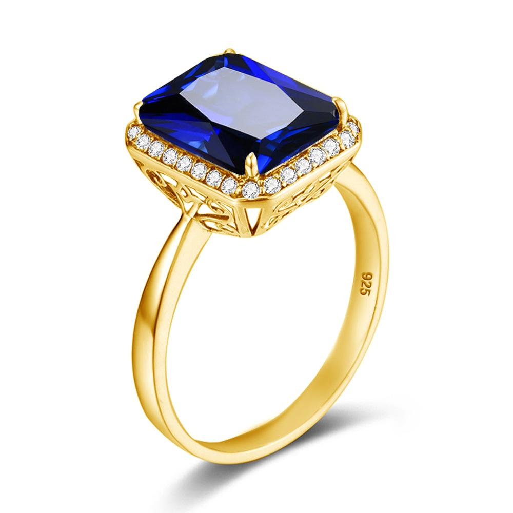Anillos de zafiro amarillo, anillos de oro de 18K para mujer con piedras preciosas, diamante cuadrado de plata 925, joyería grabada hecha a mano, joyería femenina