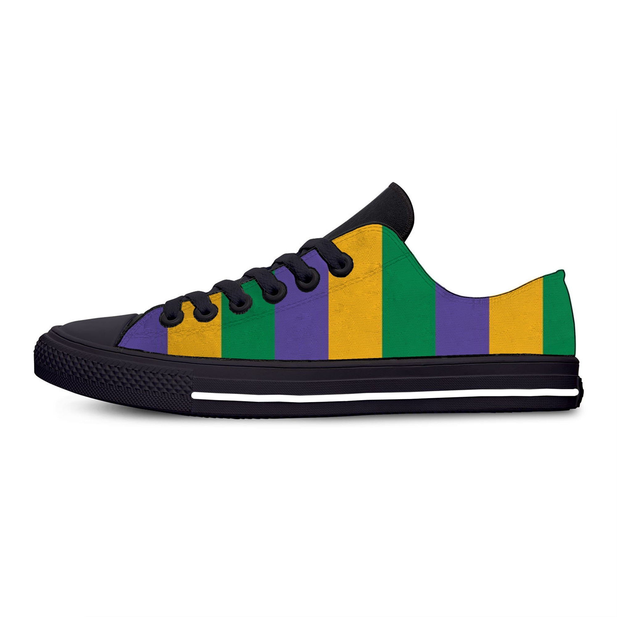 Mardi Gras Stripe Pattern Fashion Funny Classic Casual Cloth Shoes Low Top...