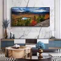 Peinture a lhuile de paysage couleur dautomne foret neige montagne  toile dart  salon couloir bureau decoration murale de la maison