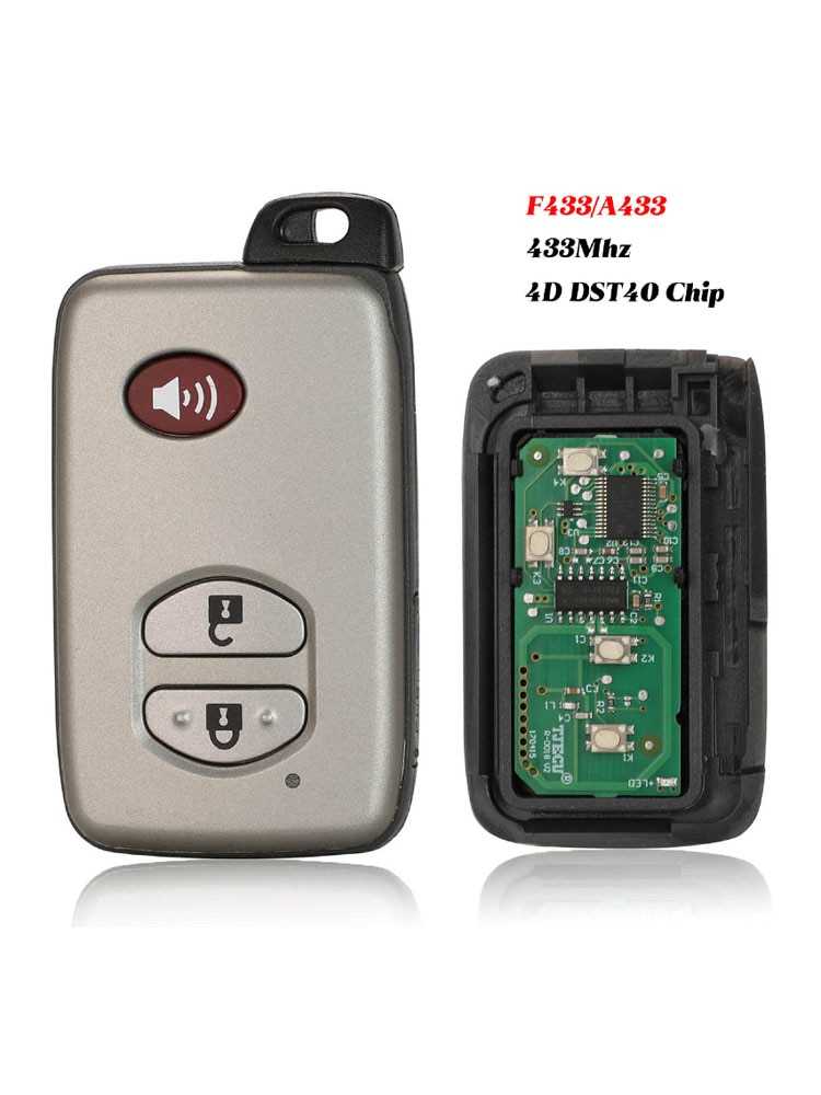 jingyuqin F433/A433 Remote 3B Control Car Smart Key Case For Toyota Camry Land Cruiser Key 433MHZ 4D+DST40 CHIP