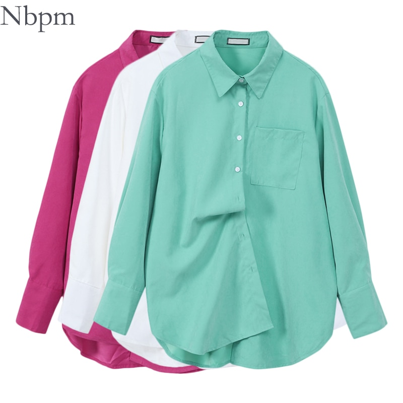 Nbpm Spring 2021 Women's Clothing Loose Shirt Sweet Chic Tops Elegant Blouses Blusas Mujer Clothes Female Fashion Solid Blouses