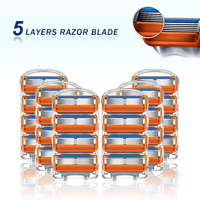 Replaceable Blade Fit Gillette Fusion 5 Proglide Proshield 5 Layers Manual Shaving Safety Razor Blades For Men Shaving Cassettes