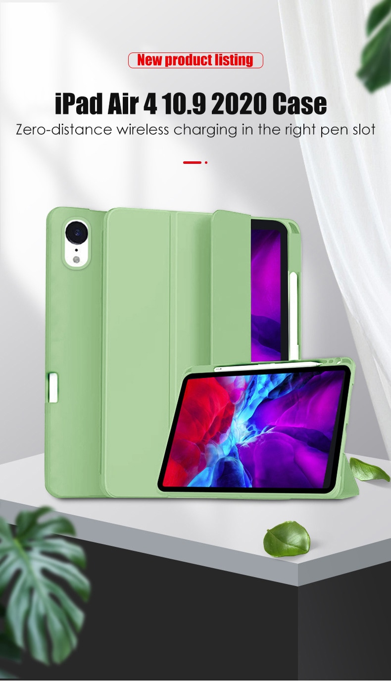New Funda iPad for Pencil-Holder Cover A2316 Case A2316/A2324/A2325/A2072 Tablet Air-4 with Soft-Silicone