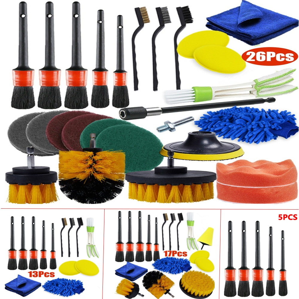 26/17/13/5Pcs Detailing Brush Set Car Cleaning Brushes Power Scrubber Drill Brush For Car Leather Cleaning Tools недорого