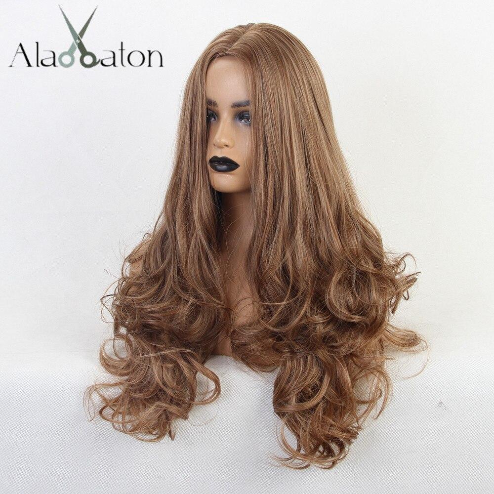 Alan eaton longo ondulado perucas de cabelo sintético marrom cosplay perucas fibra resistente ao calor feminino onda cabelo parte do meio para preto afro