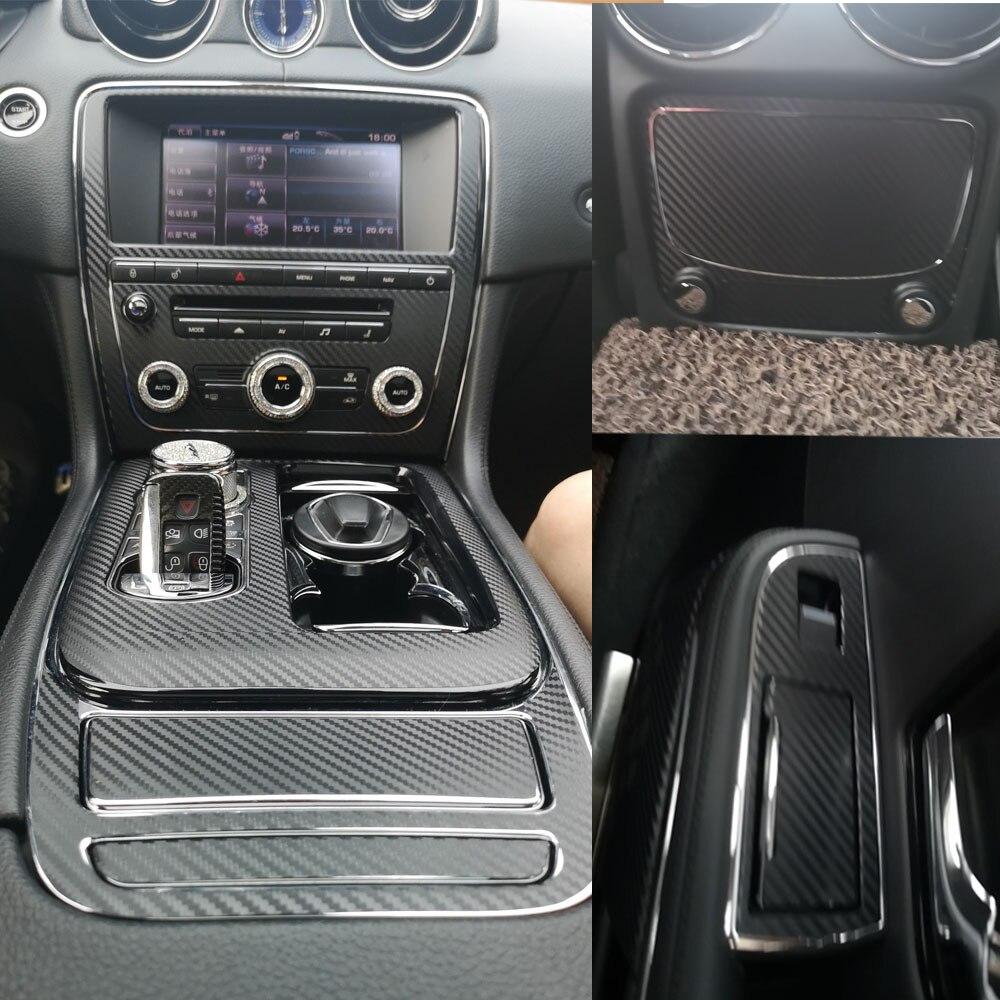 Für Jaguar XJ XJL 2010-2018 Innen Zentrale Steuerung Panel Tür Griff Carbon Faser Aufkleber Aufkleber Auto styling geschnitten vinyl
