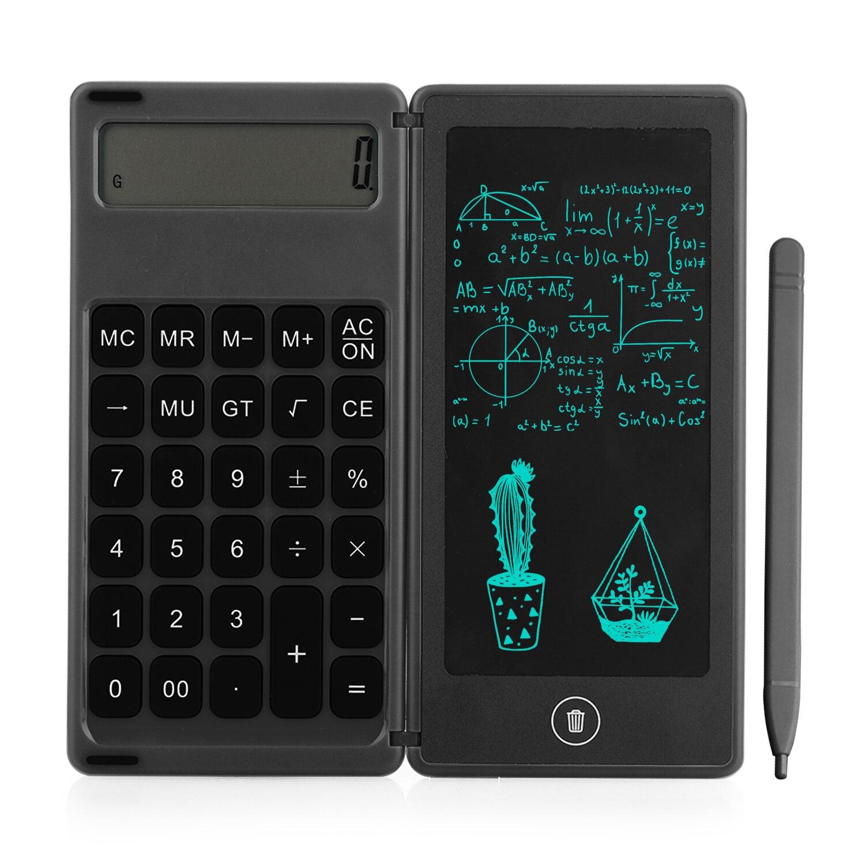 طوي حاسبة و 6 بوصة كمبيوتر لوحي LCD بشاشة للكتابة الرقمية لوح للرسم 12 أرقام عرض مع ستايلس القلم محو قفل بزر الكبس وظيفة
