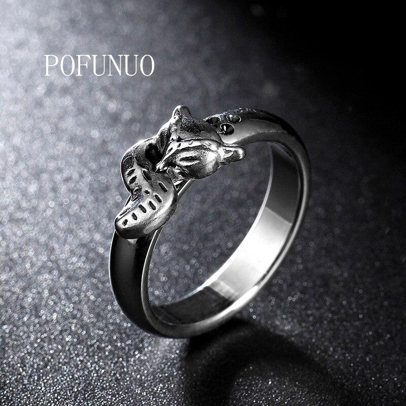 Pofunuo aliexpress 4mm ultra fino anel de aço inoxidável raposa cauda anel senhoras moda jóias aniversário presente anel frete grátis