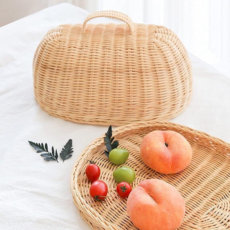 تخزين الروطان صينية مع غطاء اليد سلة مغزولة سلال الخبز سلطة فواكه صندوق عرض الإفطار لكعكة الفاكهة الغذاء