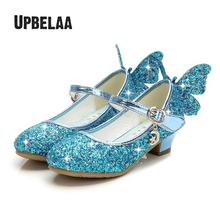 Filles à talons hauts princesse chaussures enfants chaussures paillettes en cuir strass papillon sandales enfants chaussures de mariage robe de soirée danse