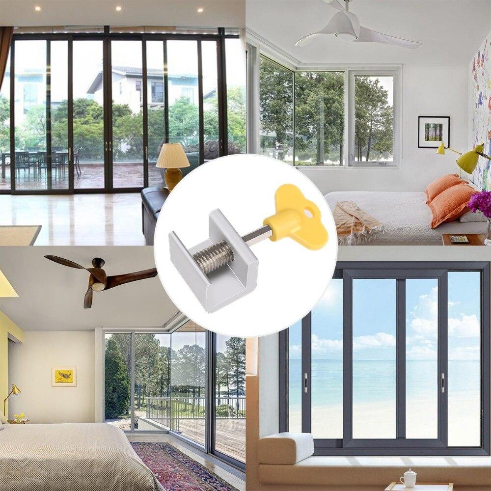 8 Uds 4 juegos ajustable cerraduras de ventanas correderas deja de aluminio puerta de aleación de cerradura de seguridad con las llaves de casa Oficina de Seguridad cerradura de la ventana