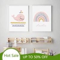 WTQ     affiches de peinture sur toile avec nom personnalise  baleine rose arc-en-ciel  decoration de maison