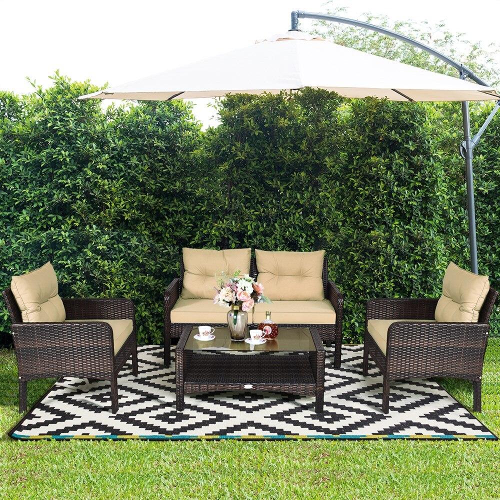 Costway 4 قطعة الباحة الروطان الأثاث مجموعة وفيسيت أريكة طاولة القهوة حديقة W/وسادة
