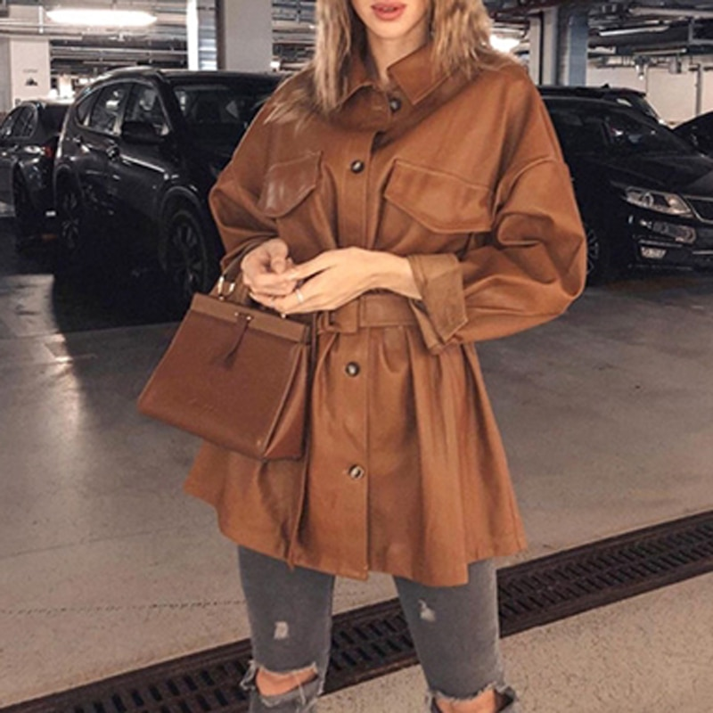 Explosive European and American autumn and winter women's leather jackets are thinner and waist long-sleeved dress leather coats enlarge