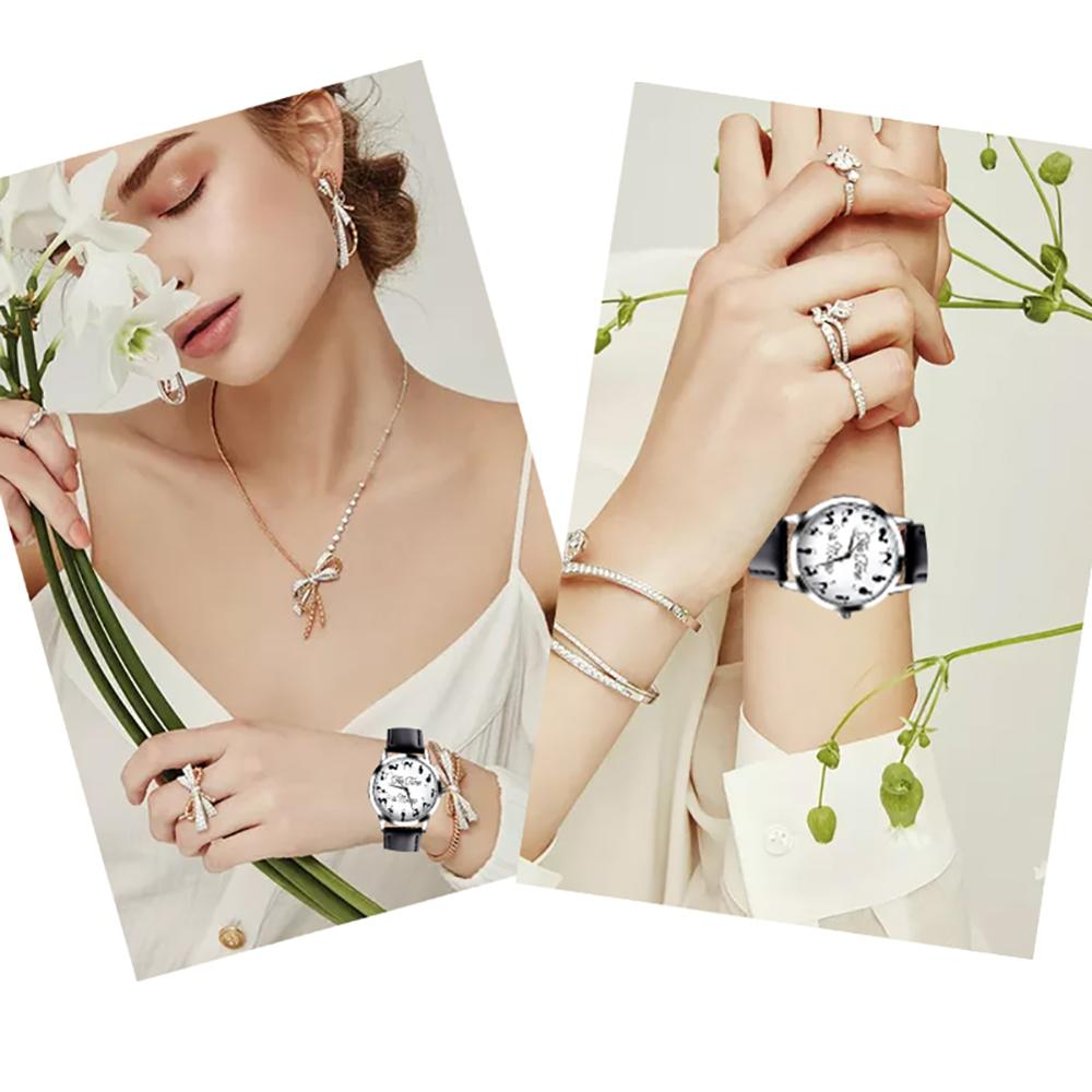 Novelty Cats Letter Dial Quartz Moment Faux Leather Band Couples Wrist Watch new Fashion watch for l