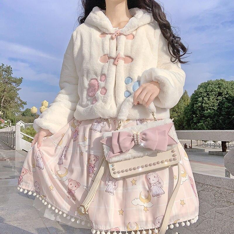 Japanese Sweet Autumn Winter Lolita Coats Girly Rabbit Ears Warm Soft Plush Cartoon Anime Cute Cat Kawaii Hooded Jackets Outwear freee shipping cos anime ears cats hairpins diffuse maid catwoman lolita soft cute sister card