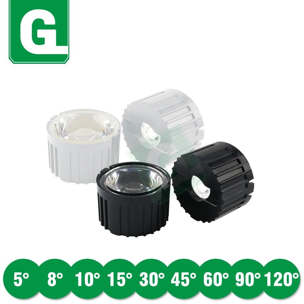 10 piezas 5 8 10 15 30 45 60 90 120 grados LED lente Reflector 20mm + soporte para 1W 3W 5W LED de alta potencia Chip COB
