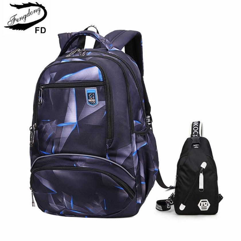 Fengdong school bag set boys school bags large waterproof school backpack for boy bookbag student schoolbag crossbody chest bag недорого