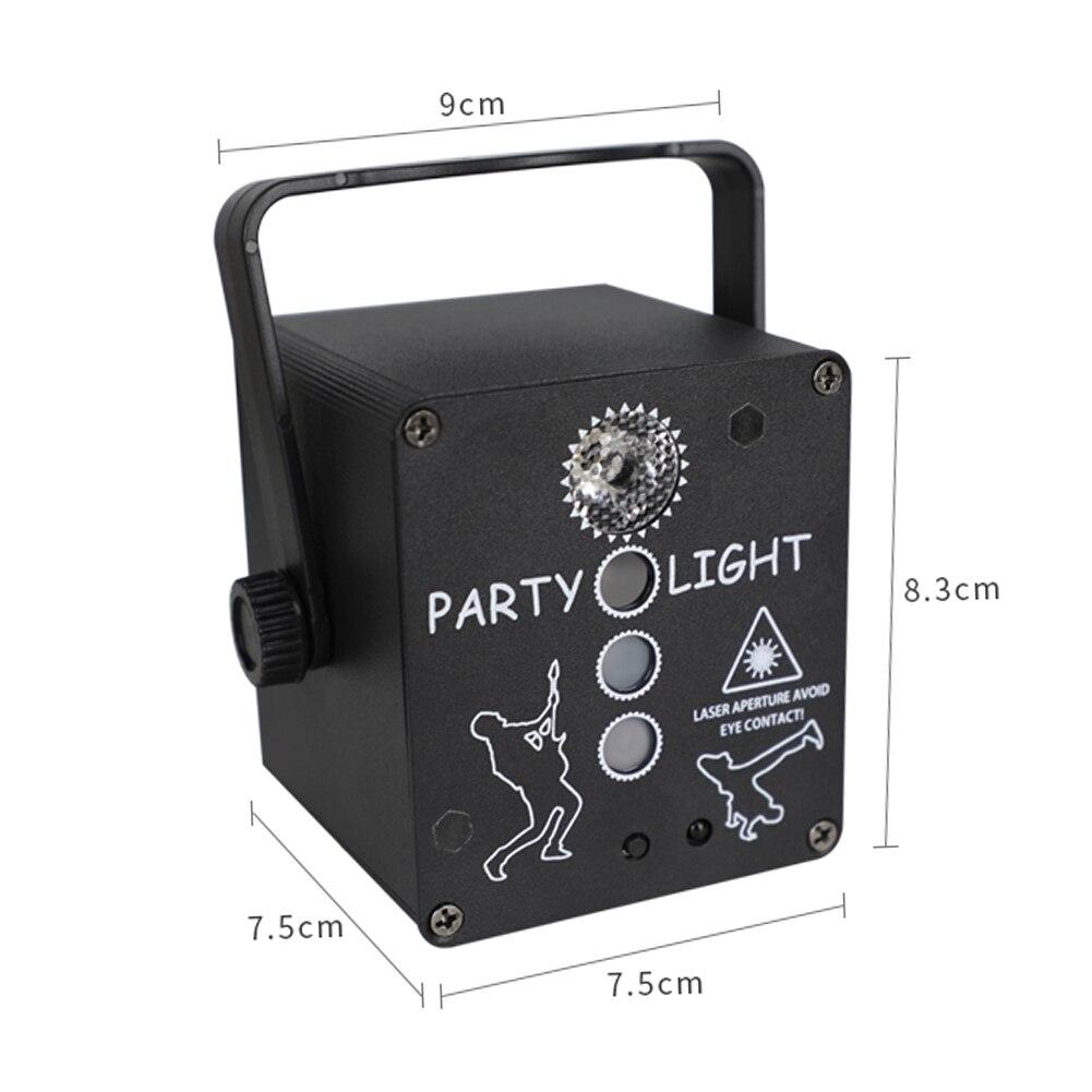 Вечеринка Свет USB Перезаряжаемый Пульт Управление Сцена Освещение RG Лазер% 2BRGB% 2BUV LED 4 Объектив Автоматический Аудио Управление для DJ Club Party