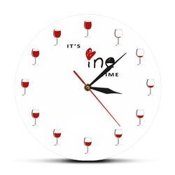 Vinho tinto decorativo relógio de parede design moderno é tempo de vinho relógio de parede relógios do vintage decoração de parede original ideia de presente para o amante do vinho