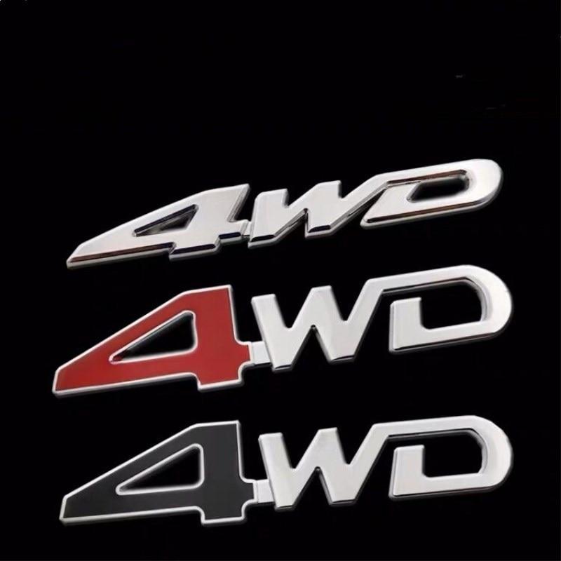 Pegatina 4WD 4WD 4x4 de Metal para parte trasera de coche, insignia 3D cromada con emblema para coche, pegatina decorativa para coche, etiqueta 4WD roja para maletero SUV