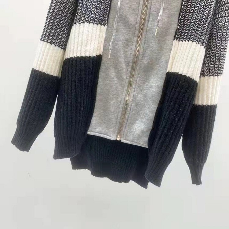 Hooded Sweaters 2021 Autumn Winter Fashion Cardigans High Quality Women Color Block Knitting Long Sleeve Casual Cardigan Tops enlarge