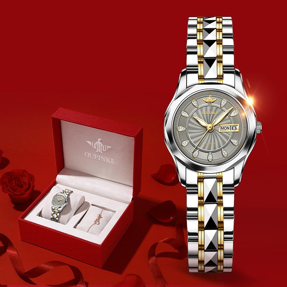 2020 OUPINKE Sword-Shaped Pointer Automatic Mechanical Watch Luxury Tungsten Steel 50m Waterproof Business Watch Women Watches
