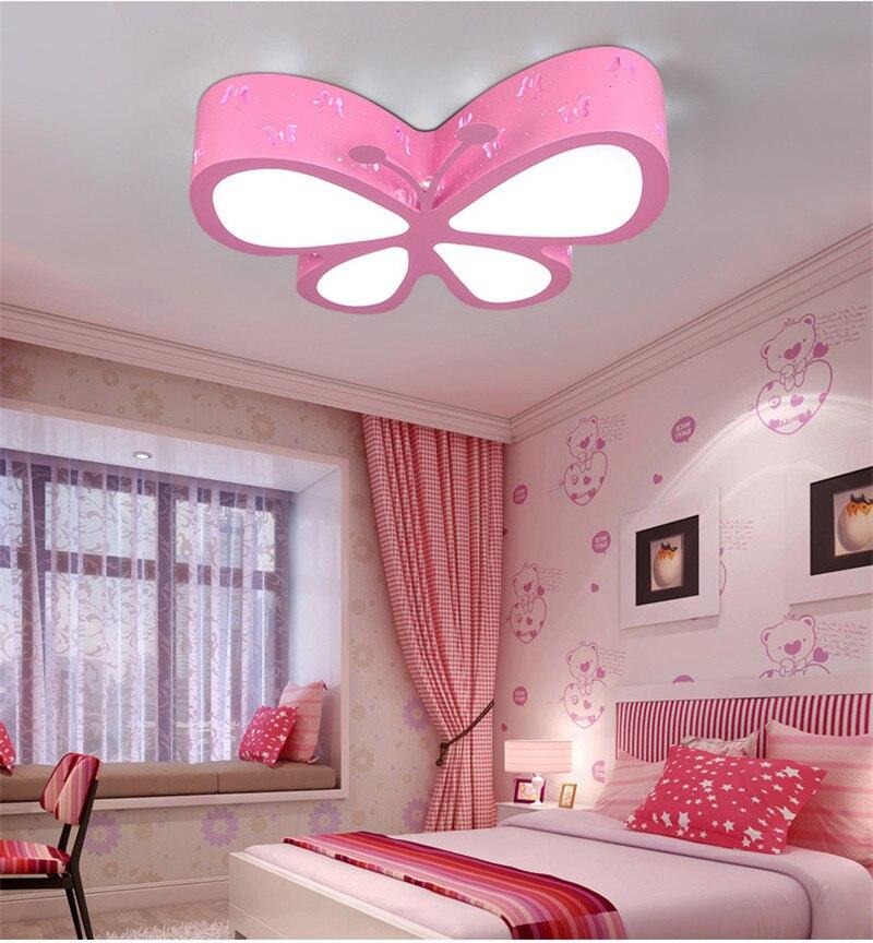 Lâmpada rosa de teto com borboleta, para crianças, meninas, quarto infantil, iluminação de teto