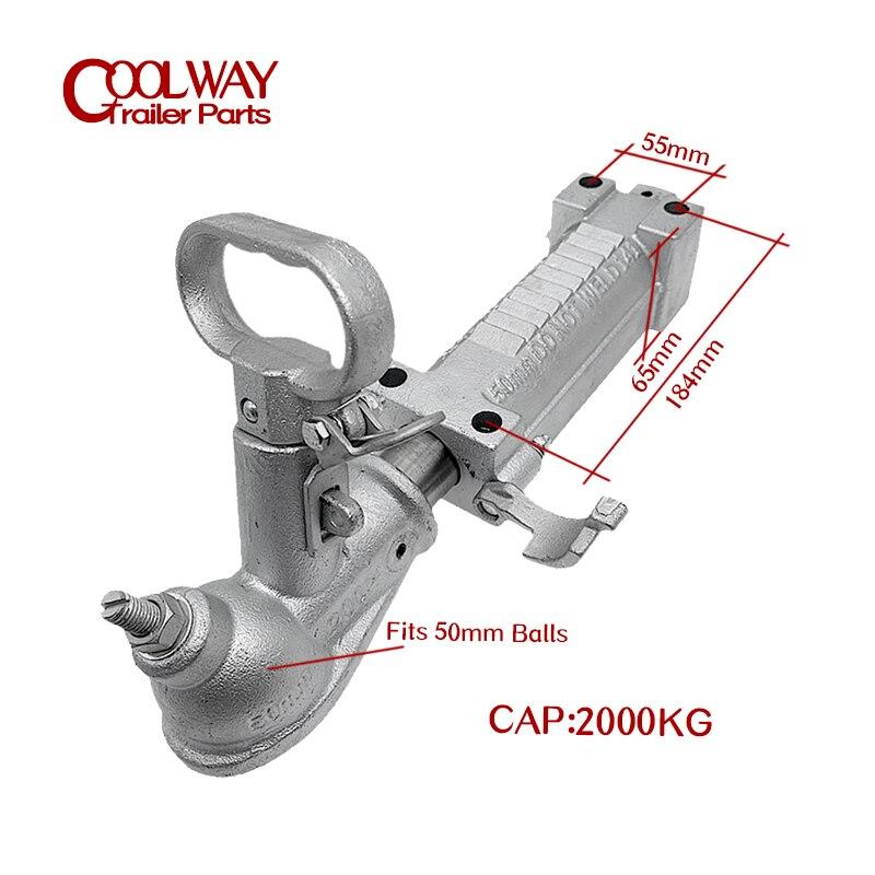 Override Zinc Coupling Mechanical 2000KGS Trailer Coupler RV Parts Car Camper Accessories Caravan Components enlarge