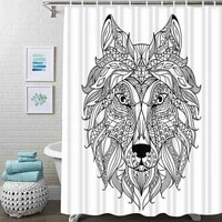 wolf african shower curtain head stylized shower curtain waterproof fabric for bathroom decor shower curtains set with hooks