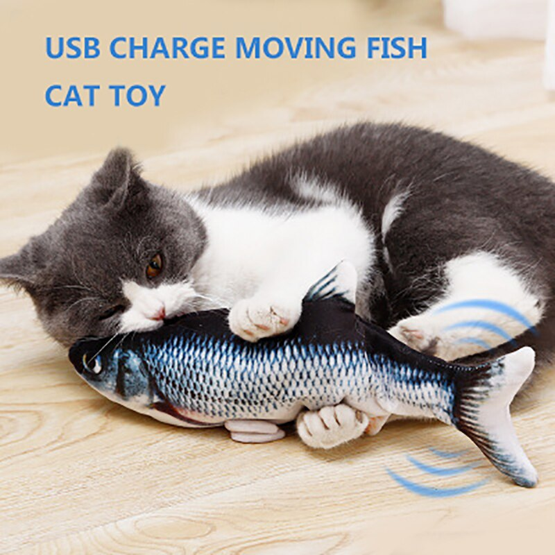 AliExpress - Moving Fish Toys for Cats Chewing Playing Cat Electronic USB Charger Toy Interactive Moving Fish Wagging Toy