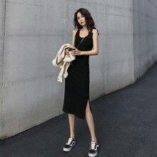 2021 Summer New Retro Women's Inner Bottoming Little Black Dress Trendy Slit Slim-Fitting Midi Dress