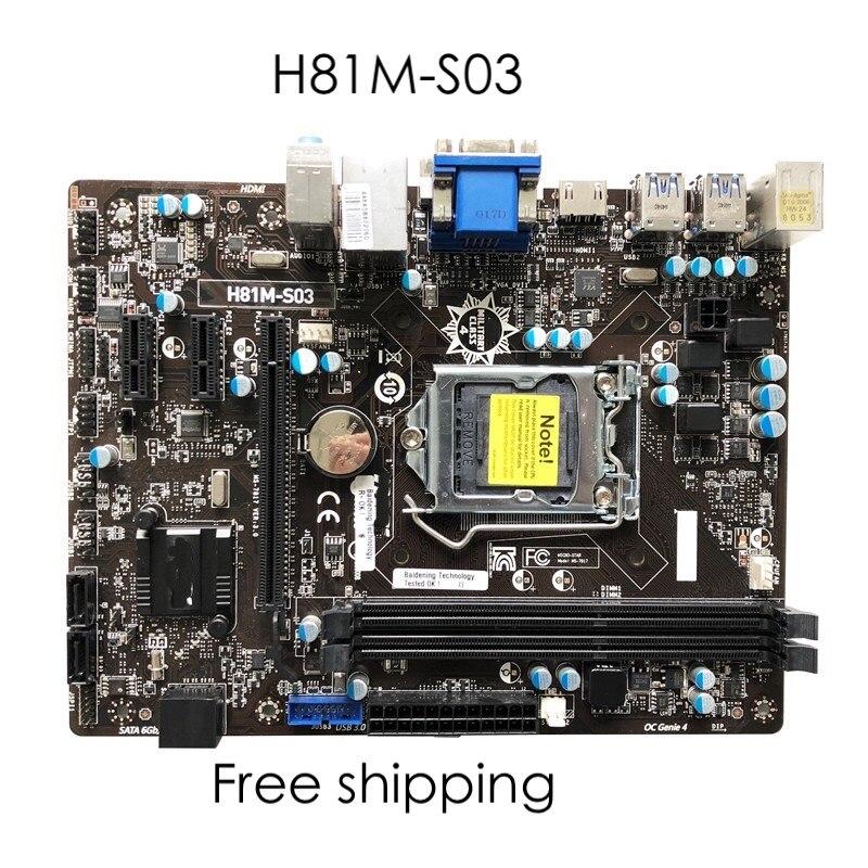 Para msi H81M-S03 placa-mãe h81matx E3-1231V3 mainboard 100% testado totalmente trabalho