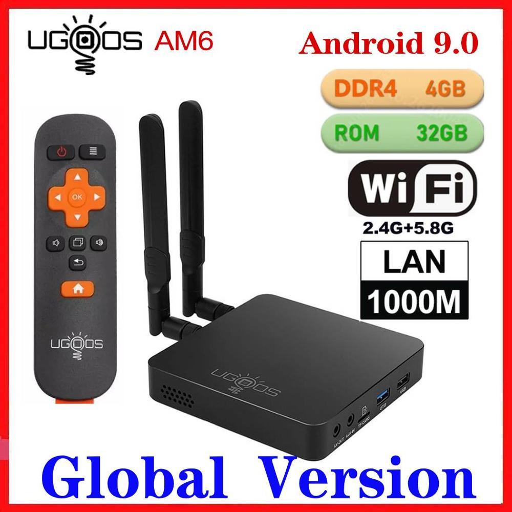 UGOOS AM6 Pro TV BOX Android 9.0 Amlogic S922X DDR4 4GB RAM 32GB ROM 2.4/5G WiFi 1000M LAN BT 4K AM6 2G/16G Media Player HD OTA