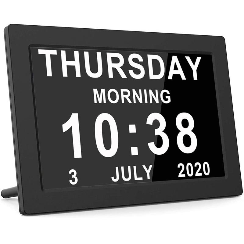 NEW-Dementia Clocks,Calendar Clock,Digital Clock with Large Digits Display,Alarm Clock with HD Digital Photo Frame,UK Plug
