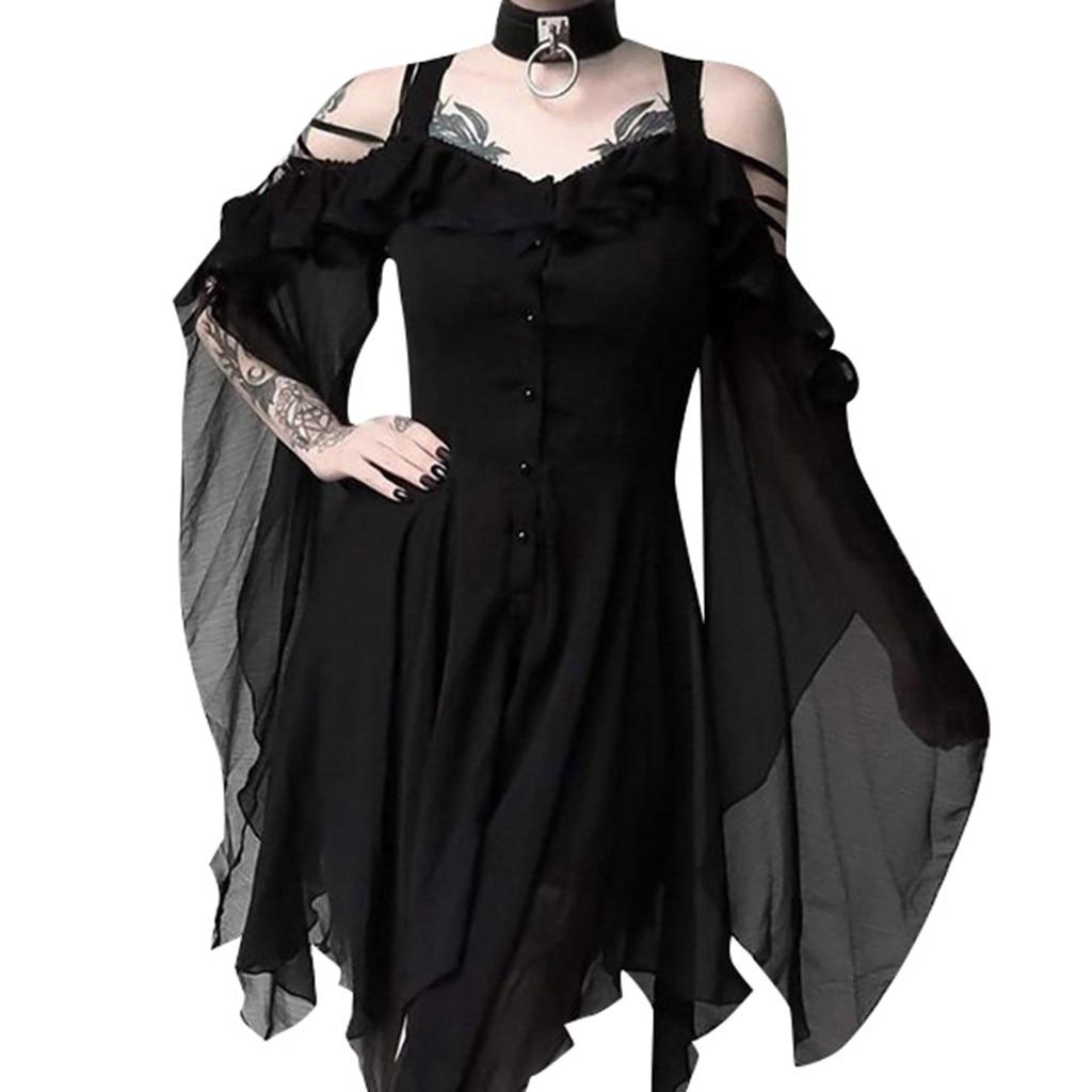 Vestido gótico corto para señora, moda de otoño 2019, negro oscuro, mangas con volantes y hombros descubiertos, 35 &