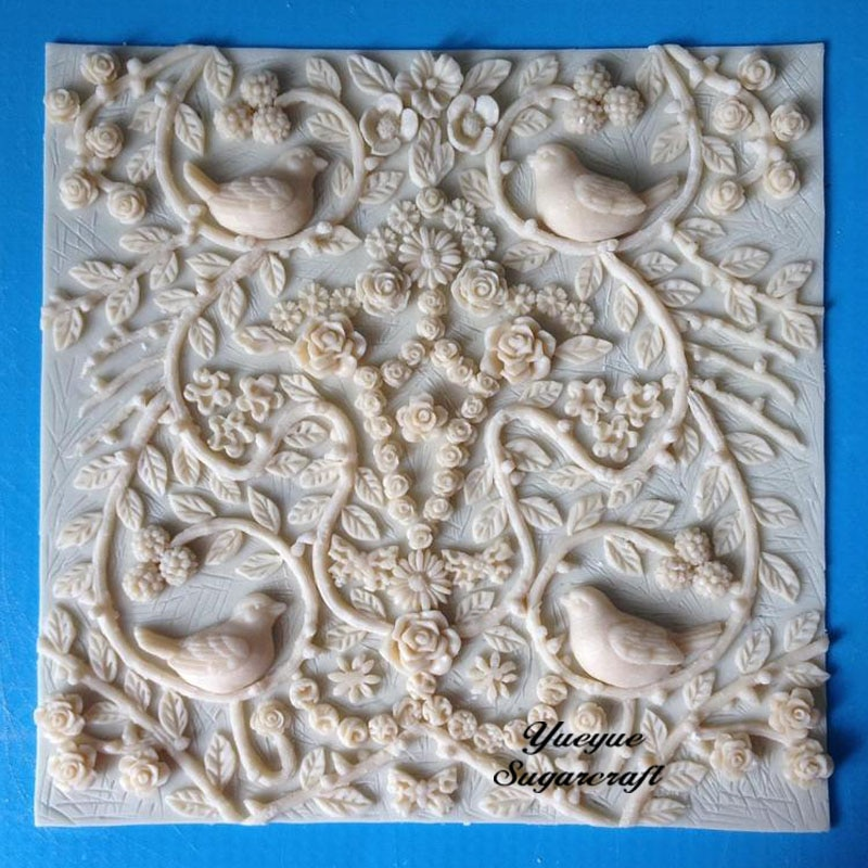 Molde de silicona para decoración de tartas de Bodas de Bird Boder, molde para fondant, herramientas de decoración de tartas, molde para pasta de goma y chocolate