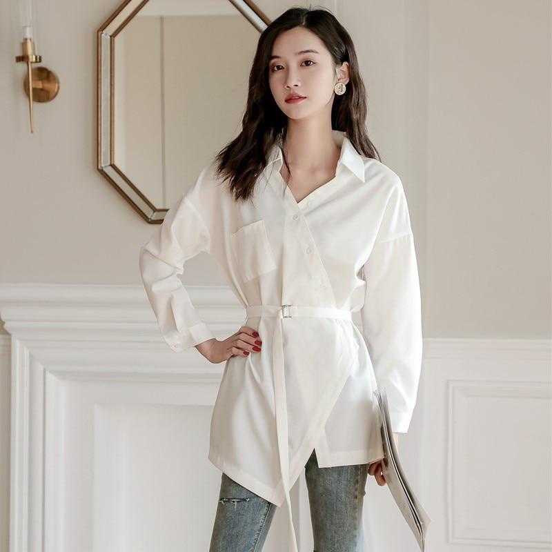 2020 Spring Autumn One Pocket Women Irregular White Shirt Female Tops Long Sleeve Casual V-neck OL Style Loose Sashes Blouses
