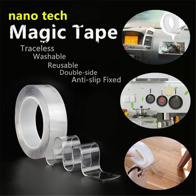 Adhesivo lavable cinta nanoTape 1M/3.28Ft reutilizables de silicona adhesiva cinta libre de quitar reutilizable etiqueta de la pared Decoración