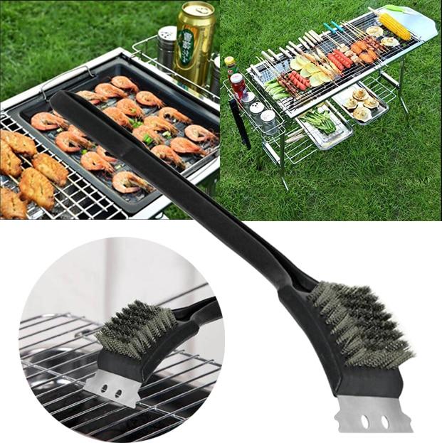 21x7,3 CM limpieza Bbq limpieza cepillo para parrilla rascador de cocina Grill Cleaner Bbq Brush herramienta de latón alambre fuente de cocina herramientas de barbacoa