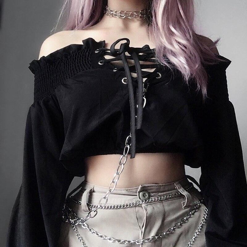 2019 Punk oscuro camiseta mujer gótico pantalones hueco plisado soplo manga camisetas nueva moda Streetwear camiseta femenina negro