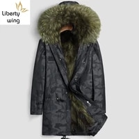 winter new mens real raccoon parka mid long coat fur collar hoodie hip hop loose camo overcoat windproof snow jacket