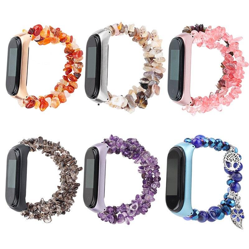 Pulsera de moda para mujer para Mi Band 4 3, preciosa pulsera de piedra, Accesorios inteligentes, Correa tejida a mano Manual para Xiaomi Miband 3 4