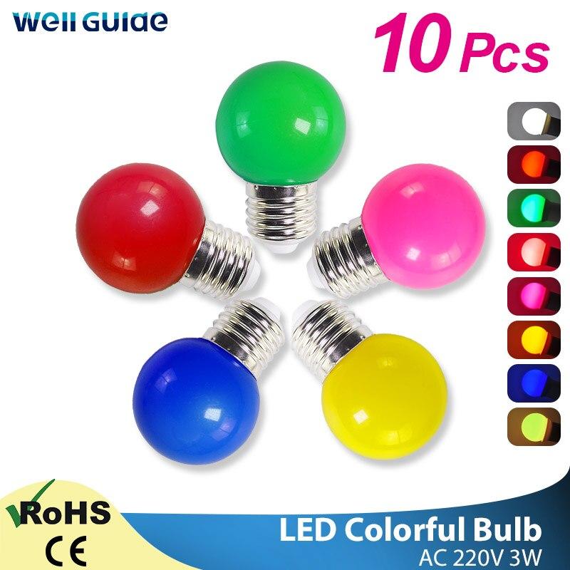 10 шт. Светодиодная лампа 3 Вт лампа E27 RGB цветная лампада Ampoule светодиодный светильник SMD 2835 вспышка светильник домашний декор светильник AC 220V ...