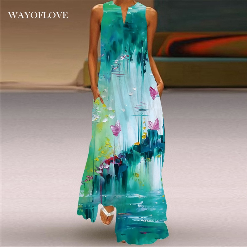 WAYOFLOVE Fashion Green Sleeveless Dress 2021 Robe Beach Casual Plus Size Girl Long Dresses Summer W