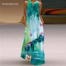 WAYOFLOVE Fashion Green Sleeveless Dress 2021 Robe Beach Casual Plus Size Girl Long Dresses Summer W