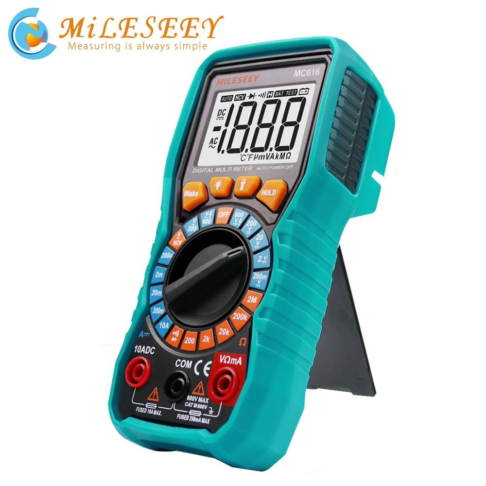 Цифровой мультиметр Mileseey NCV Автоматический диапазон AC/DC измеритель напряжения вспышка светильник задний светильник большой экран